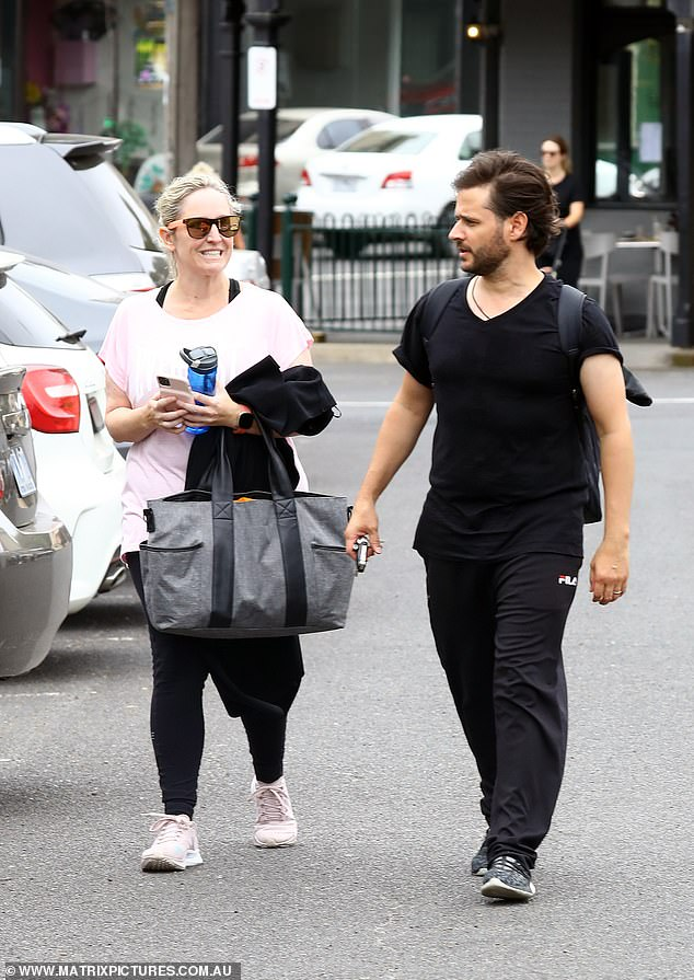 Ensemble: Fifi wore a pink T-shirt, black tights and sneakers for her second day of rehearsals