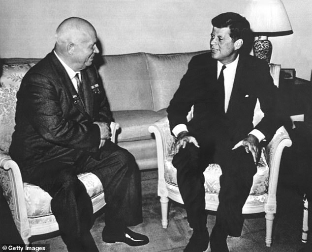 Kennedy and Khrushchev are pictured meeting in Vienna in June 1961 during the Cold War