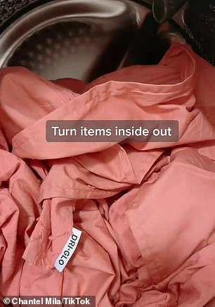 Chantel Mila posted on TikTok, where she said you can keep 'those brights bright' by turning the items inside out and adding a simple solution to the washing machine (process pictured)