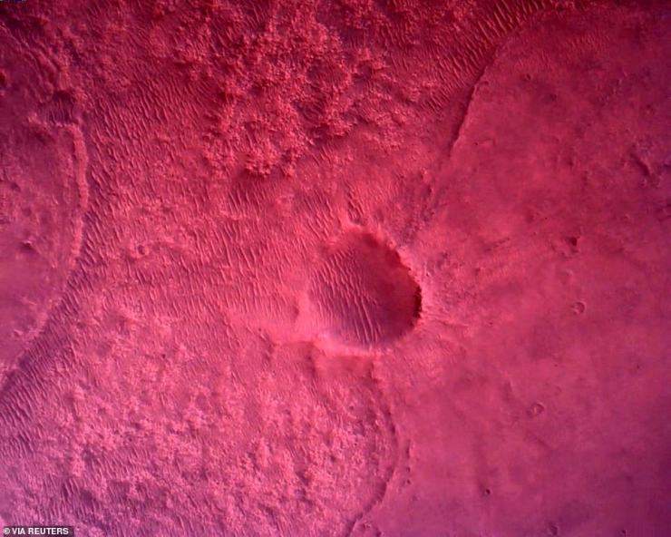 The surface of Mars directly below Perseverance. Mars 2020 uses a new generation of engineering cameras that build on the capabilities of past Mars rover cameras. These enhanced engineering cameras give much more detailed information, in colour, about the terrain around the rover