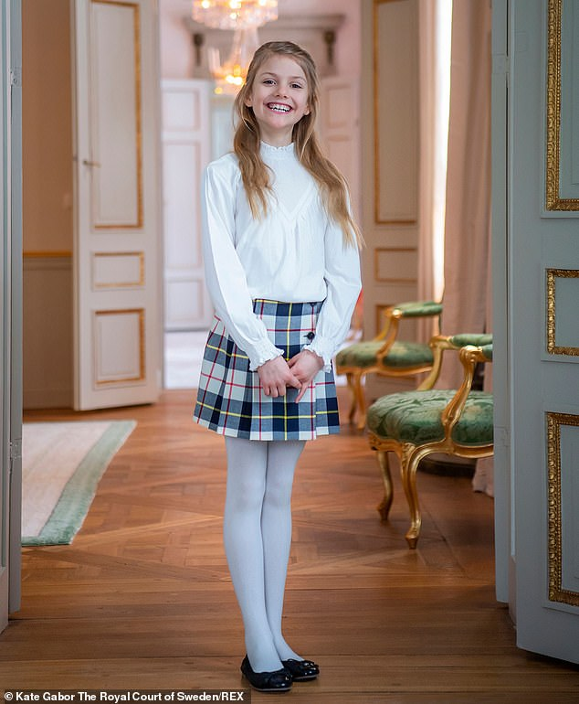 Princess Estelle of Sweden (pictured) posed for a series of new portraits at Haga Palace to mark her 9th birthday