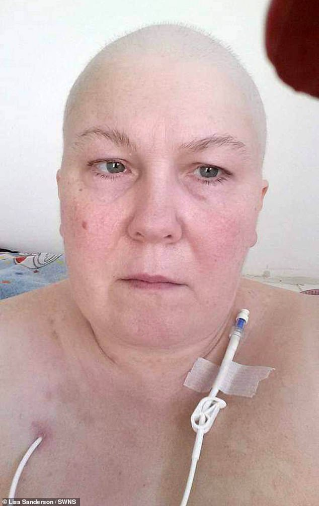Lisa said she began eating all of her favourite foods after chemotherapy because they were focused on enjoying life. Pictured: Lisa in hospital during chemotherapy
