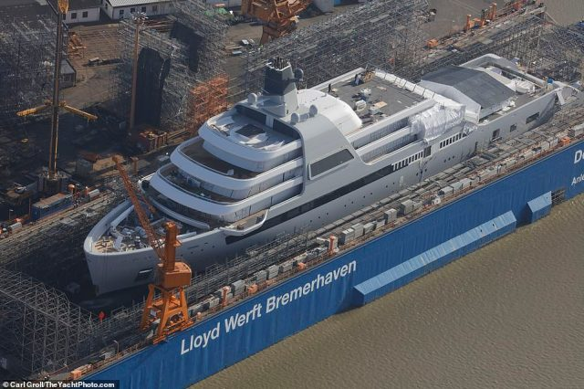 Roman Abramovich's new £430 million superyacht is pictured for the first time as it nears completion at a German shipyard
