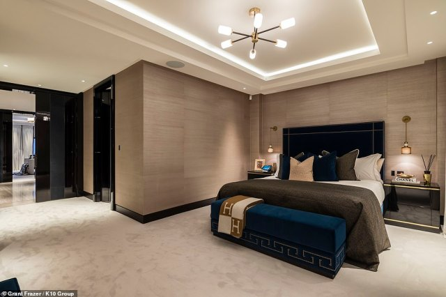 K10 Group designed the interiors of Culross House to be a celebration of the 'Best of British' classic design, with key rooms inspired by famous five-star hotels and VIP venues from around the world. Pictured: the Hermes bedroom