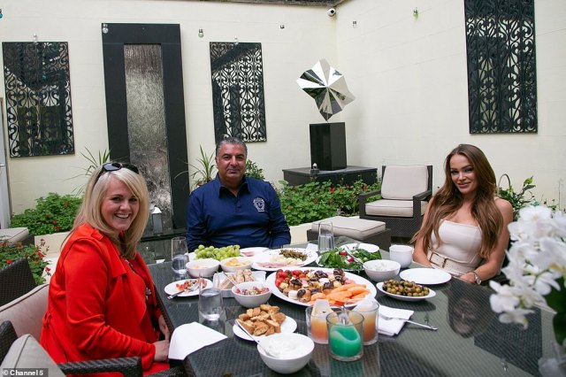 The heiress's London adviser sent her a video of Culross House after they saw it on the Channel 5 show Sally Lindsay's Posh Sleepovers (pictured: Sally with Culross House owner Kam Babaee and his partner)