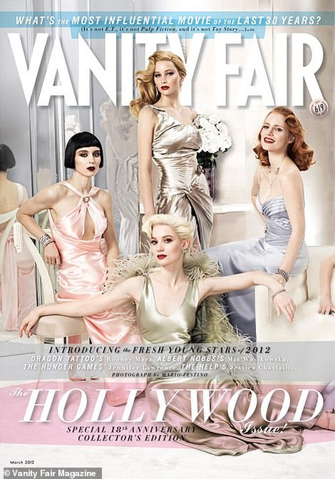 Old-fashioned: In the past, the VF Hollywood edit tended to feature white stars with little diversity.  On the left is the 2012 cover featuring Jennifer Lawrence, Rooney Mara, Mia Wasikowska, and Jessica Chastain.