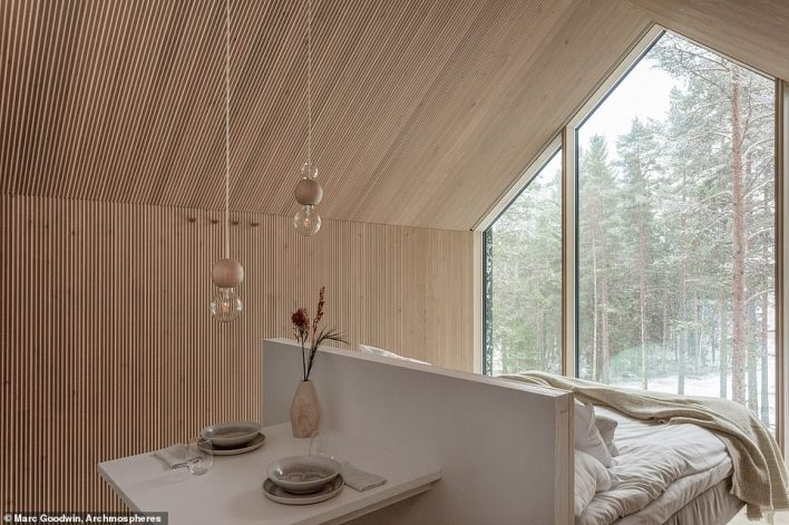 The interiors inside the cabin 'only serve as a neutral, blank canvas second to the nature outside', says Studio Puisto