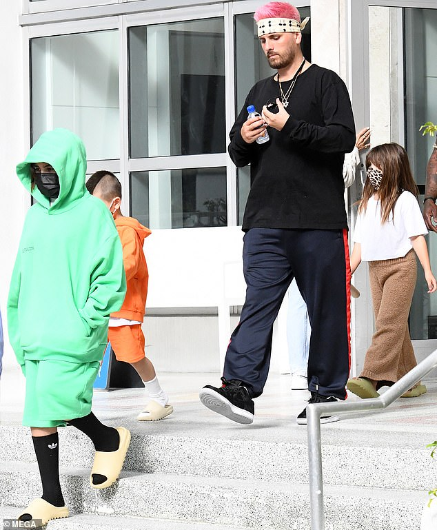Kourtney's Children: The 37-year-old reality TV idol was joined by her three children - Mason, 11, Penelope, eight, and Reign, six