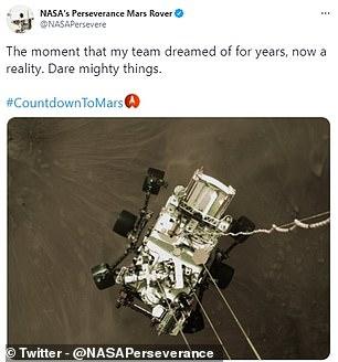 Perseverance tweeted 'Dary mighty things'