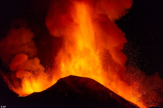 Dramatic pictures show torrents molten lava shooting into the air and running down the volcano during the most recent eruption overnight that began on Monday night, and continued into the early hours of Tuesday