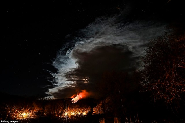Pictured:Mount Etna erupts in the night with lava fountains one kilometer high and a column of ash over 10 km high heading towards nearby Tyrrhenian on February 23, 2021 in Catania, Italy