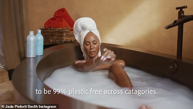 Scrub a dub dub: Jada Pinkett Smith entered the wellness industry with the launch of her new line of sustainable skincare products, Hey Humans