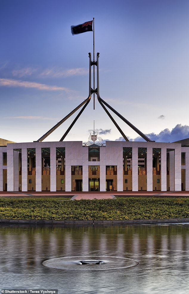 A former intern has come forward with fresh allegations she had sex in a senator's office at Parliament House (pictured) with thehe former Liberal staffer accused of raping Brittany Higgins