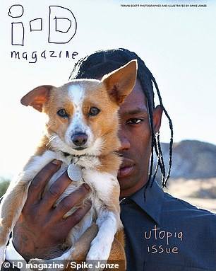 Dog Days: Continuing to show his soft side, Scott carried a small dog on the cover of the magazine.
