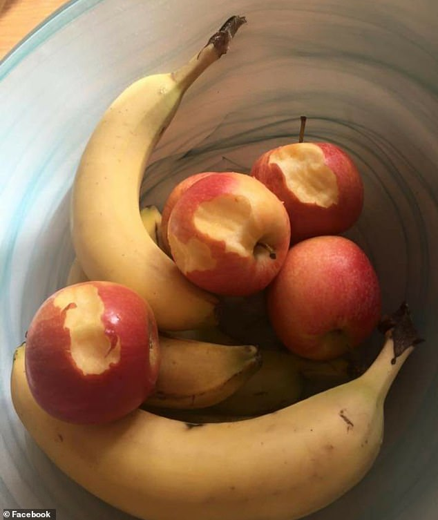 Many said they regularly find half-eaten pieces of fruit, particularly apples (pictured), thanks to their toddler's fascination with the animated series Peppa Pig
