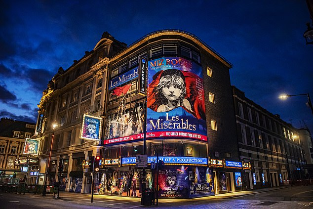 The app could be used to enter theatres, cinemas, sports venues and music festivals or pubs and restaurants. The system could also be used by businesses to regulate which staff members can come back to the office. Pictured: The Sondheim Theatre where Les Miserable was playing before the pandemic struck