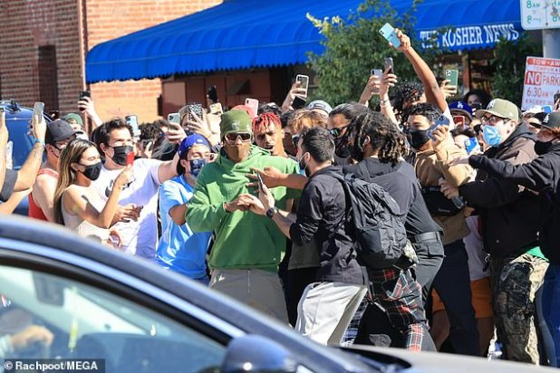 His idol: Sicko Mode hitmaker was greeted by adoring fans