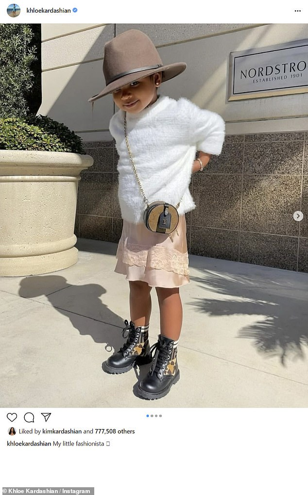 Sweet: Khloe shared this cute image of two-year-old daughter True earlier this week