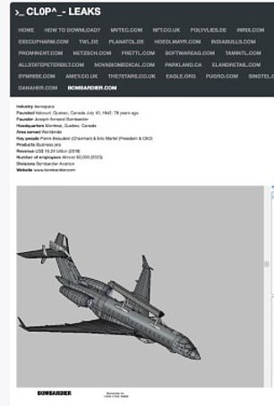 A screenshot of documents posted to Clop Leaks appears to show Saab's GlobalEye radar defense system attached to a Bombardier private jet in a schematics picture