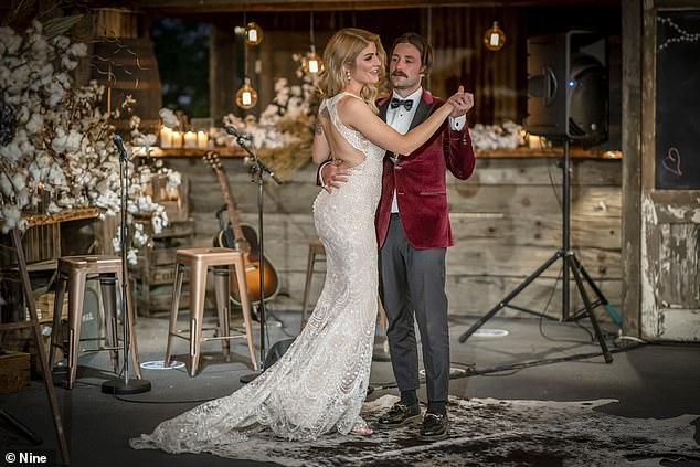 Newlyweds: Booka tied the knot with co-star and onscreen 'husband' Brett Helling on Tuesday's episode of MAFS, which was filmed last year