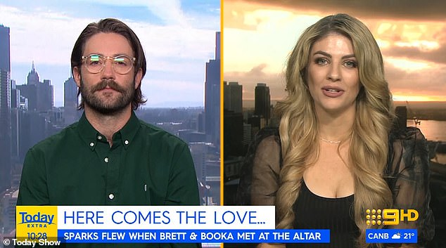 Something to tell us? Meanwhile, Booka and her TV husband Brett hinted that they had split this week during an interview on Today Extra - when they did a live cross from two different cities.