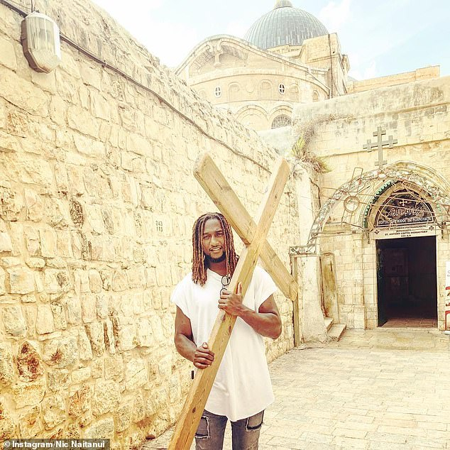 The West Coast Eagles ruckman was on holiday Israel in 2018 when he decided he wanted to venture to the Gaza Strip and Syrian border. He is pictured inOld City Jerusalem