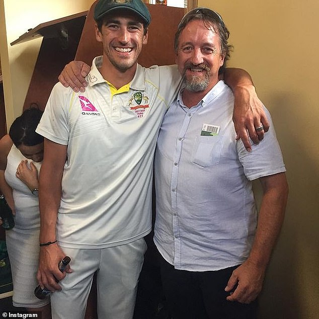 Australian cricket star Mitchell Starc's father Paul (pictured together) passed away on Tuesday after losing his battle with cancer