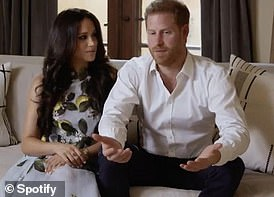 The Duke and Duchess of Sussex feature briefly in a Spotify video which was released last night