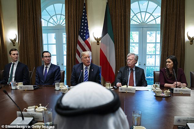 U.S. President Donald Trump, center, speaks during a meeting with Sheikh Sabah Al-Ahmed Al-Sabah, Kuwait's emir, in 2018. Mnuchin is pictured second from left.