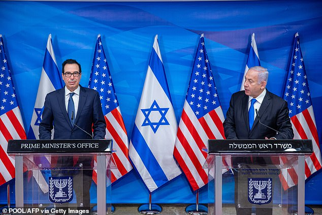 Israeli Prime Minister Benjamin Netanyahu, right, and the US Secretary of Treasury Steven Mnuchin, left, deliver a statement following their meeting in Jerusalem, in January
