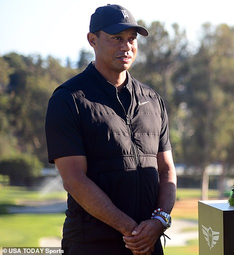 Tiger Woods (pictured on Sunday) will not face criminal charges over the crash which shattered his right leg on Tuesday morning