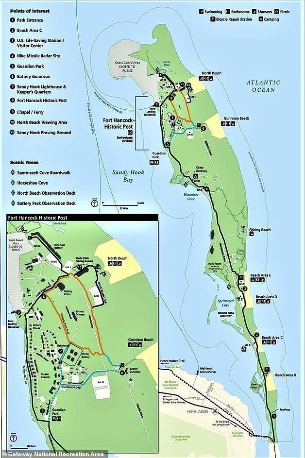 A DWI in a national park is a misdemeanor federal offense, carrying a maximum sentence of six months in jail and fines of up to $5,000. Probation can also be up to five years, according to Freeburg Law. Pictured above is a map of the Sandy Hook peninsula