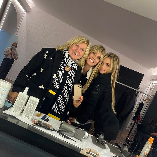 Proud: It comes after Heidi said she could not be prouder of Leni after she made her modelling debut in December (Heidi pictured with her mother and daughter Leni)