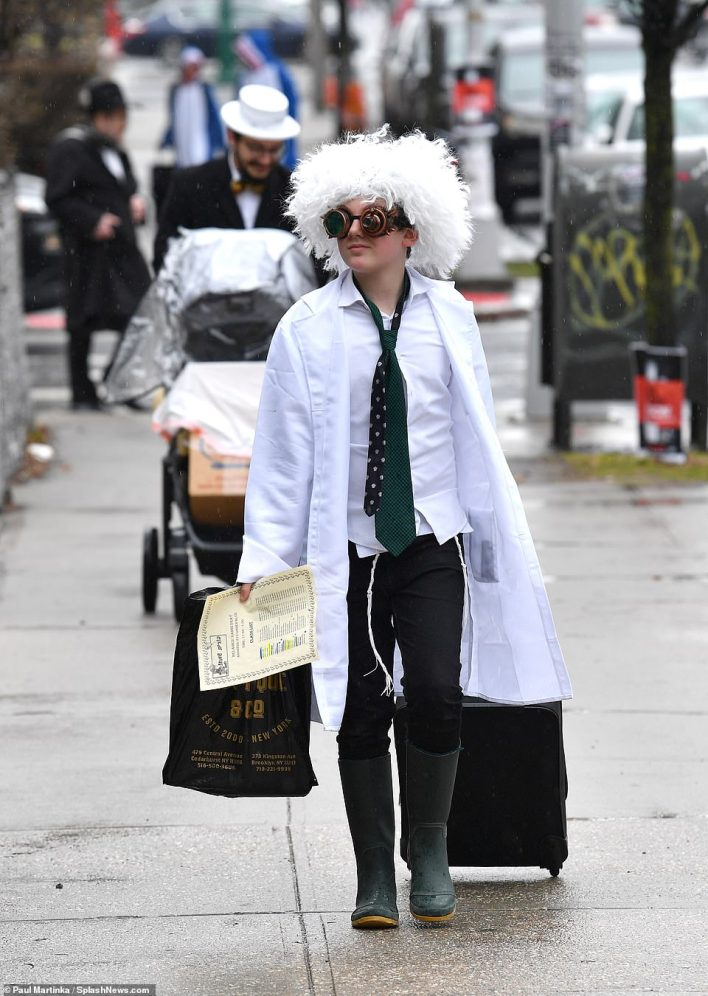 Children dressed up in fun costumes like this boy dressed as a mad scientist. Pictured in 2019