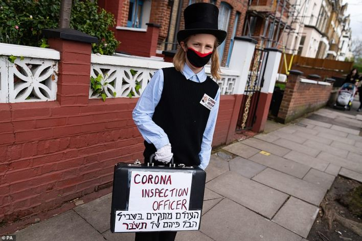 This young man's costume in Stamford Hill in London from 2020 couldn't help but poke a little fun during the festivities
