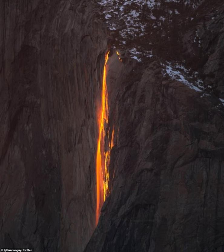 The firefall can be seen only in mid- to late February when the light from the setting sun illuminates the cliff where Horsetail Fall is flowing