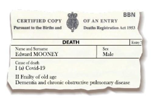 El padre de Bel Mooney, Edward, fue certificado erróneamente como muerto por coronavirus