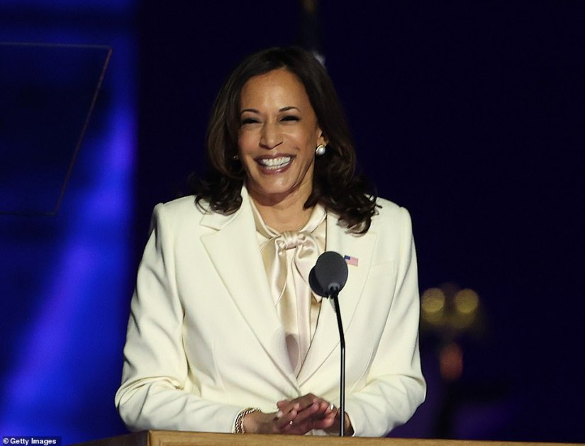 Harris purchased the home in 2004 when she becameSan Francisco's District Attorney, the first black woman South Asian woman to ever hold the position. Pictured: Vice President-elect Kamala Harris takes the stage before President-elect Biden addresses the nation after being declared winner of the 2020 Presidential Election, November 2020