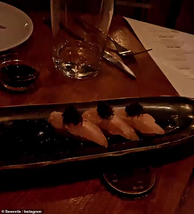 Enticing: The food was so fantastic that she must have singed its praises in her Insta Stories.  `` This is the best sushi I have ever eaten in my life, '' she shared a video of her nigiri