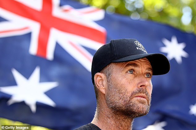 Pete Evans attends anti-vaccination rally in Hyde Park in Sydney in February 2021