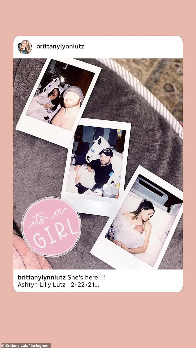 Love:Brittany also reposted the image on her Stories alongside the caption 'It's a girl!', suggesting the couple didn't know which gender they were expecting