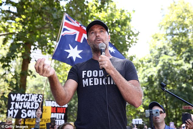 Pete Evans addresses other vaccine protesters last week in Sydney.  He was kicked from Facebook in December when he had one million subscribers