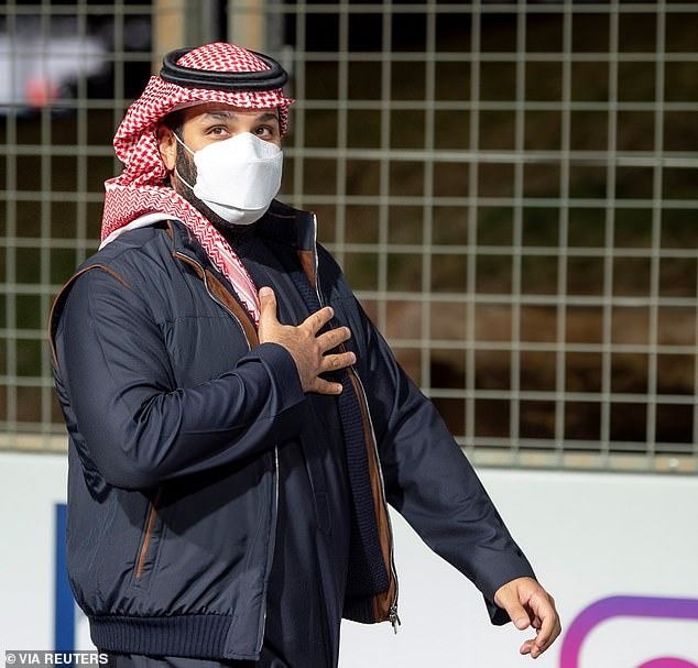 Pictured,Saudi Crown Prince Mohammed Bin Salman arrivesat Diriyah E-Prix 2021 in Riyadh on Saturday. Biden has faced criticism for not being tougher on MBS