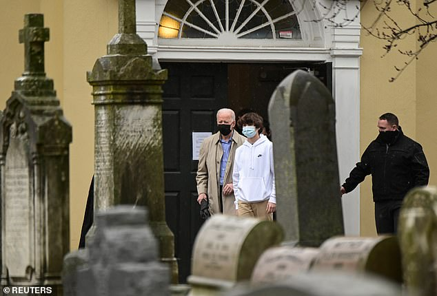 The comment comes after President Joe Biden, pictured leaving church on Sunday, said Saturday that his administration would make an announcement on Saudi Arabia on Monday