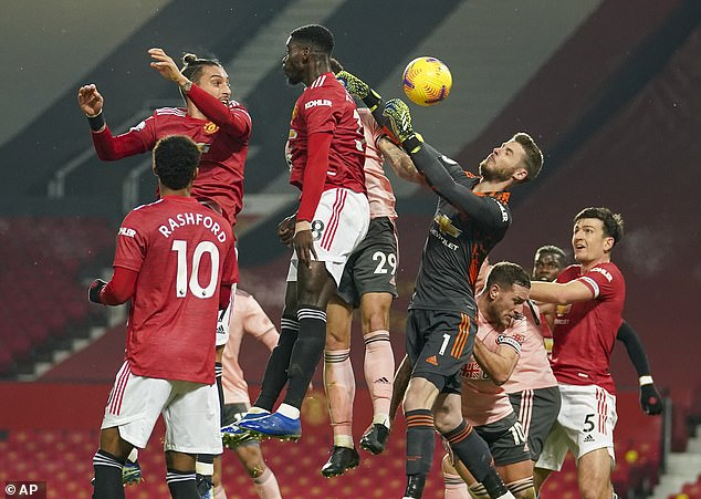 Sheffield United's opening goal in late January was given despite David de Gea being pushed