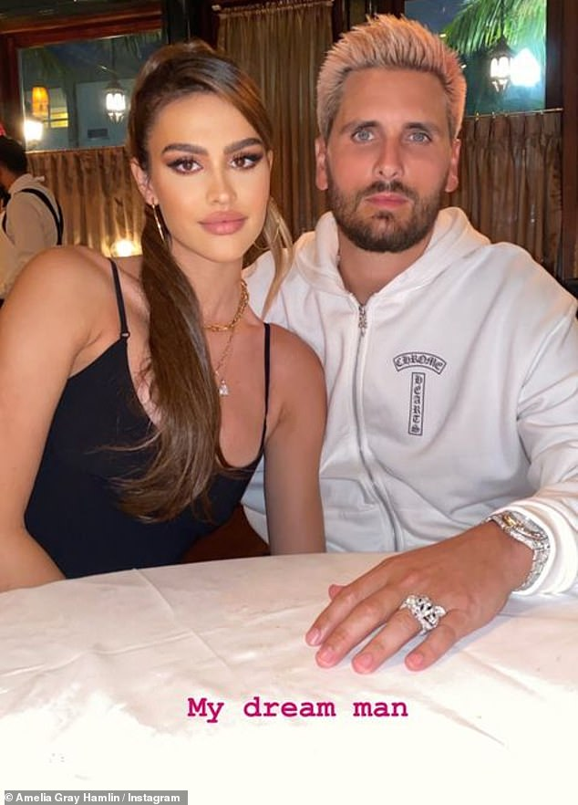 A dream!Amelia gushed over Scott Disick, 37, on her Instagram Stories after it was revealed her parents struggled with the idea of their 'little girl' dating a father-of-three