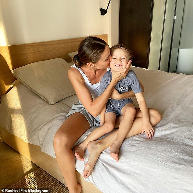 """""""Dom is four years old today!  Model and businesswoman Rachael Finch put everything aside on Tuesday to focus all of her attention on her son, Dominic, on his fourth birthday"""