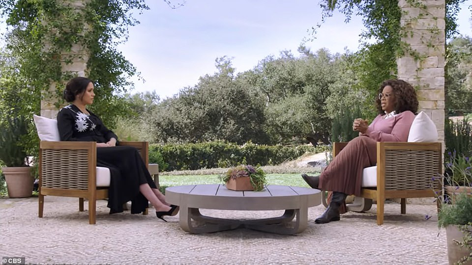 Promoting harmony: The choice of a round coffee table reflects the 'circle of trust' between Oprah and Meghan