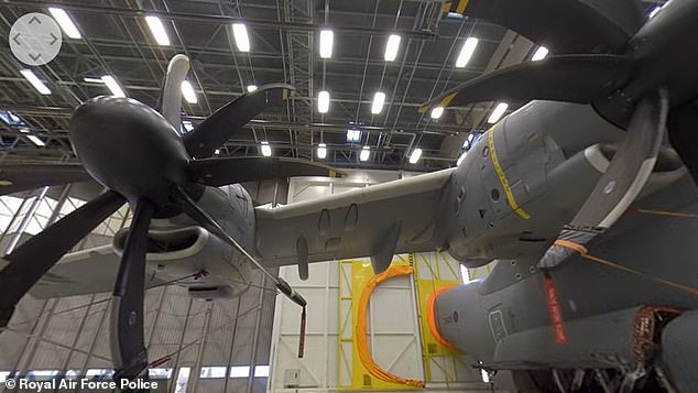 Stand below the huge propellers of the A400M, which is used by the RAF to quickly transport troops and equipment