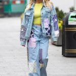 Ashley Roberts turns heads in fun double denim patchwork and a neon green crop top